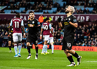 Manchester City's Sergio Aguero (right) celebrates scoring his side's sixth goal  <br /> <br /> Photographer Andrew Kearns/CameraSport<br /> <br /> The Premier League - Aston Villa v Manchester City - Sunday 12th January 2020 - Villa Park - Birmingham<br /> <br /> World Copyright © 2020 CameraSport. All rights reserved. 43 Linden Ave. Countesthorpe. Leicester. England. LE8 5PG - Tel: +44 (0) 116 277 4147 - admin@camerasport.com - www.camerasport.com