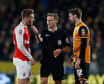 Referee Mike Jones with Calum Chambers of Arsenal and Nick Powell of Hull City - English FA Cup - Hull City vs Arsenal - The KC Stadium - Hull - England - 8th March 2016 - Picture Simon Bellis/Sportimage