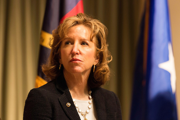 "April 16, 2014. Durham, North Carolina.<br />  Senator Kay Hagan. Hagan has been largely absent from the campaign trail even as several Republican challengers have mounted campaigns to defeat her in this year's election.<br />  Kay Hagan (D),  US Senator from North Carolina, attended an event to honor the military service of Donald ""Buddy"" Moore, Hagan awarded Moore's widow Wanda a posthumous Bronze Star, as well as several other medals, for his service in World War II."