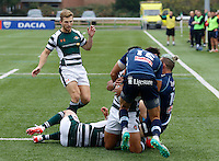 Bedford's George Edgeson and Patrick Tabley halt Ealing's Curtis Wilson in his tracks during the Greene King IPA Championship match between Ealing Trailfinders and Bedford Blues at Castle Bar , West Ealing , England  on 29 October 2016. Photo by Carlton Myrie / PRiME Media