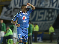 BOGOTÁ -COLOMBIA, 09-02-2014. Roman Torres de Millonarios celebra un gol en contra del Atlético Nacional durante partido por la fecha 4 de la Liga Postobón  I 2014 jugado en el estadio Nemesio Camacho el Campín de la ciudad de Bogotá./ Roman Torres of Millonarios celebrates a goal  against Atletico Nacional during for the 4th date of the Postobon  League I 2014 played at Nemesio Camacho El Campin stadium in Bogotá city. Photo: VizzorImage/ Gabriel Aponte / Staff