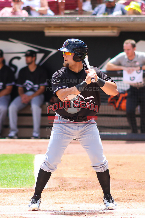 Quad Cities River Bandits first baseman Troy Sieber (21) at bat during a Midwest League game against the Wisconsin Timber Rattlers on June 27, 2017 at Fox Cities Stadium in Appleton, Wisconsin.  Quad Cities defeated Wisconsin 6-5. (Brad Krause/Four Seam Images)