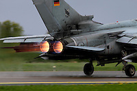 A German Tornado takes off using afterburner. Nato Tiger Meet is an annual gathering of squadrons using the tiger as their mascot. While originally mostly a social event it is now a full military exercise. Tiger Meet 2012 was held at the Norwegian air base Ørlandet.