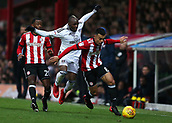 2nd December 2017, Griffen Park, Brentford, London; EFL Championship football, Brentford versus Fulham; Neeskens Kebano of Fulham intercepts Nico Yennaris of Brentford
