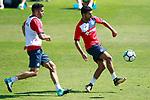 Getafe's Bruno Gonzalez (l) and Angel Rodriguez during training session. September 12,2017.(ALTERPHOTOS/Acero)