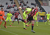 07/05/2016 Sky Bet League Two Morecambe v York City<br /> Kevin Ellison flashes a header