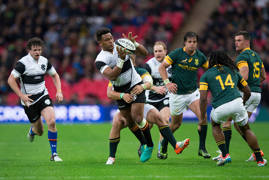 Seta Tamanivalu of the Barbarians in action  Photographer Craig Mercer/CameraSport<br /> <br /> International Rugby Union Friendly - Barbarians v South Africa - Saturday 5th November 2016 - Wembley Stadium - London<br /> <br /> World Copyright &copy; 2016 CameraSport. All rights reserved. 43 Linden Ave. Countesthorpe. Leicester. England. LE8 5PG - Tel: +44 (0) 116 277 4147 - admin@camerasport.com - www.camerasport.com