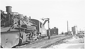 D&amp;RGW #484 getting water at the Alamosa water crane<br /> D&amp;RGW  Alamosa, CO  Taken by Richardson, Robert W. - 1/18/1953