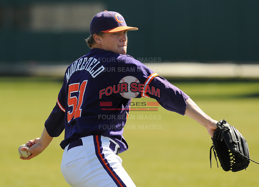 LHP Joseph Moorefield (51) the Clemson Tigers in a game against the Wright State Raiders Saturday, Feb. 27, 2010, at Doug Kingsmore Stadium in Clemson, S.C. Photo by: Tom Priddy/Four Seam Images