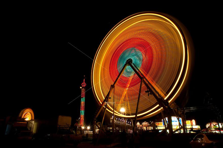 Ferris wheel Rides Spinning at Austin, Texas Carnival