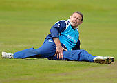 Cricket - Greenock XI v Cricket Scotland Presidents XI to celebrate Greenock CC's 150th Anniversary - at Glenpark - current and former Scotland International players played in the game including former Ranger goalkeeper Andy Goram - here wincing a little after a slip while trying to stop the ball induced splits - 26.8.12 - 07702 319 738 - clanmacleod@btinternet.com - www.donald-macleod.com