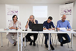 Economics specialist Robert Pollin (2L) and `Podemos´ members Carolina Bescansa, Inigo Errejon and Nacho Alvarez during a press conference in Madrid, Spain. June 22, 2015. (ALTERPHOTOS/Victor Blanco)