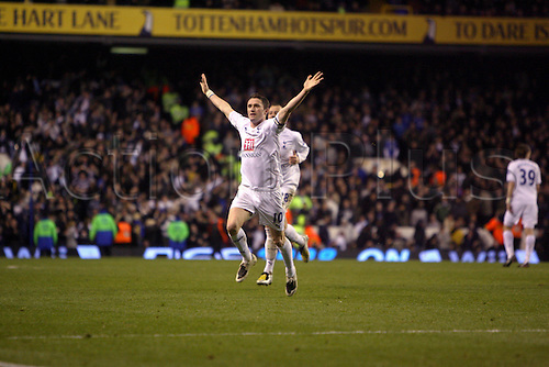 19 March 2008: Spurs striker Robbie Keane celebrates scoring his late equalizer during the Premier League game between Tottenham Hotspur and Chelsea, played at White Hart Lane. The game finished 4-4. Photo: Actionplus....080319 football soccer player premiership joy celebration