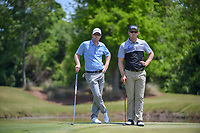 David Hearn (CAN) and Seamus Power (IRL) wait to putt on 16 during Round 3 of the Zurich Classic of New Orl, TPC Louisiana, Avondale, Louisiana, USA. 4/28/2018.<br /> Picture: Golffile | Ken Murray<br /> <br /> <br /> All photo usage must carry mandatory copyright credit (&copy; Golffile | Ken Murray)