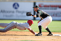 April 10, 2010:  Matt Hague of the Altoona Curve during a game at Blair County Ballpark in Altoona, PA.  Altoona is the Double-A Eastern League affiliate of the Pittsburgh Pirates.  Photo By Mike Janes/Four Seam Images
