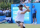 June 18th 2017, Nottingham, England; ATP Aegon Nottingham Open Tennis Tournament day 7 finals day;  Dudi Sela of Israel lines up a backhand in the men's singles final against Thomas Fabbiano of Italy