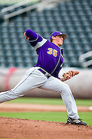 Kyle Lloyd (35) of the Evansville Purple Aces delivers a pitch during a game against the Missouri State Bears at Hammons Field on May 12, 2012 in Springfield, Missouri. (David Welker/Four Seam Images)