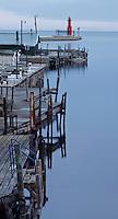 Algoma Harbor is enclosed in twilight, Lake Michigan, Algoma, Brown County, Wisconsin