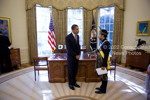 Washington, DC - November 4, 2009 -- United States President Barack Obama greets Malaysian Ambassador to the U.S., Jamaludin Jarjis, during a credentialing ceremony for new ambassadors, in the Oval Office, Wednesday, November 4, 2009. .Mandatory Credit: Lawrence Jackson - White House via CNP