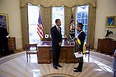 Washington, DC - November 4, 2009 -- United States President Barack Obama greets Malaysian Ambassador to the U.S., Jamaludin Jarjis, during a credentialing ceremony for new ambassadors, in the Oval Office, Wednesday, November 4, 2009. .Mandatory Credit: Lawrence Jackson - White House via CNP