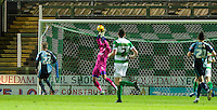 Goalkeeper Matt Ingram of Wycombe Wanderers pulls off a great save during the Sky Bet League 2 match between Yeovil Town and Wycombe Wanderers at Huish Park, Yeovil, England on 24 November 2015. Photo by Andy Rowland.