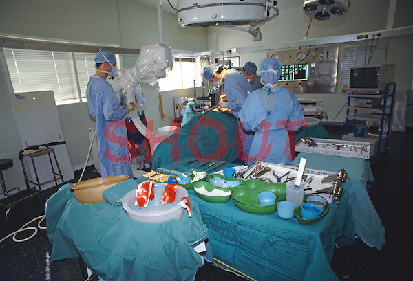 Excision of a spinal neuroma. general view of opearting theatre...©shoutpictures.com.john@shoutpictures.com