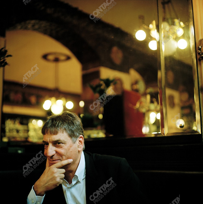 Claudio Magris, the writer, at his usual table at the Caffe San Marco in Trieste, Italy. October 9, 2007