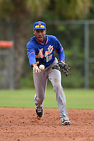 New York Mets shortstop Amed Rosario (12) during a minor league spring training game against the St. Louis Cardinals on March 27, 2014 at the Port St. Lucie Training Complex in Port St. Lucie, Florida.  (Mike Janes/Four Seam Images)