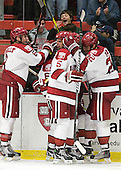 Patrick McNally (Harvard - 8), Colin Blackwell (Harvard - 63), Alex Killorn (Harvard - 19), Dan Ford (Harvard - 5), David Valek (Harvard - 22) - The Harvard University Crimson defeated the visiting Colgate University Raiders 4-2 on Saturday, November 12, 2011, at Bright Hockey Center in Cambridge, Massachusetts.