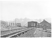 Snowshed at Lizard Head Pass with Goose #3 at the section house.<br /> RGS  Lizard Head Pass, CO  Taken by Larson, - 1939
