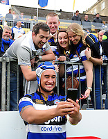 Leroy Houston of Bath Rugby poses for a selfie with supporters after the match. Aviva Premiership match, between Bath Rugby and Worcester Warriors on September 17, 2016 at the Recreation Ground in Bath, England. Photo by: Patrick Khachfe / Onside Images