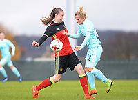 20171125 - TUBIZE , BELGIUM : Belgian Tine De Caigny (left) pictured in a duel during the friendly female soccer game between the Belgian Red Flames and Russia , Saturday 25 th November 2017 at the Belgian FA Euro 2000 Center in Tubize , Belgium. PHOTO SPORTPIX.BE | DAVID CATRY
