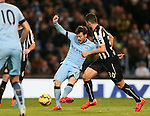 David Silva of Manchester City scores the second of his two goals - Barclays Premier League - Manchester City vs Newcastle Utd - Etihad Stadium - Manchester - England - 21st February 2015 - Picture Simon Bellis/Sportimage