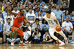 20 February 2016: North Carolina's Justin Jackson (44) and Miami's Kamari Murphy (21). The University of North Carolina Tar Heels hosted the University of Miami Hurricanes at the Dean E. Smith Center in Chapel Hill, North Carolina in a 2015-16 NCAA Division I Men's Basketball game. UNC won the game 96-71.