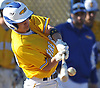 James Dieguez #25, Kellenberg right fielder, pulls a pitch inside the third base line for a run-scoring double in the bottom of the fourth inning of a Nassau-Suffolk CHSAA varsity baseball game against St. John the Baptist at Eisenhower Park on Tuesday, April 18, 2017. The hit broke a 2-2 tie. Kellenberg went on to win 6-2.