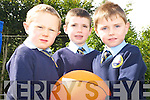 Eoghan Mulvanney, Noah McBrien and Hugh Murhilll during the first day in Loughguitane National school on Monday.   Copyright Kerry's Eye 2008