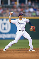 International League All-Star shortstop Erik Gonzalez (11) of the Columbus Clippers throws the ball to first base against the Pacific Coast League All-Stars at the 29th Annual Triple-A All-Star Game at BB&T BallPark on July 13, 2016 in Charlotte, North Carolina.  The International League defeated the Pacific Coast League 4-2.   (Brian Westerholt/Four Seam Images)