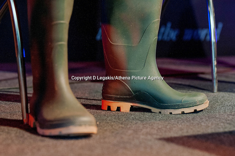 Tuesday 27 May 2014, Hay on Wye, UK<br /> Pictured: Wellie Boots of Minister John Griffiths <br /> Re: The Hay Festival, Hay on Wye, Powys, Wales UK.