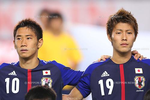(L-R) Shinji Kagawa, Yoichiro Kakitani (JPN), <br /> AUGUST 14, 2013 - Football / Soccer : <br /> KIRIN Challenge Cup 2013 match <br /> between Japan - Uruguay <br /> at Miyagi Stadium, Miyagi, Japan.<br />  (Photo by AFLO SPORT)