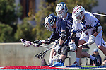 Los Angeles, CA 03/12/16 - Trevin Roberts (Utah State #16) and Dustin Marinelli (Loyola Marymount #14) in action during the Utah State vs Loyola Marymount MCLA Men's Division I game at Leavey Field at LMU.  Utah State defeated LMU 17-4.