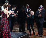 "Nan Knighton, Frank Wildhorn and Gabriel Barre with cast performing during the MCP Production of ""The Scarlet Pimpernel"" Concert at the David Geffen Hall on February 18, 2019 in New York City."