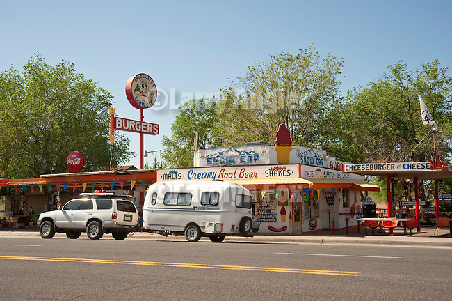 Rt. 66--Delgadillo's Snow Cap drive-up, a fixture of Route 66 since the 1950s in Seligman, Arizona, with a Casita travel trailer parked in front
