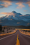 Mount Shasta and rural highway, Siskiyou County, California
