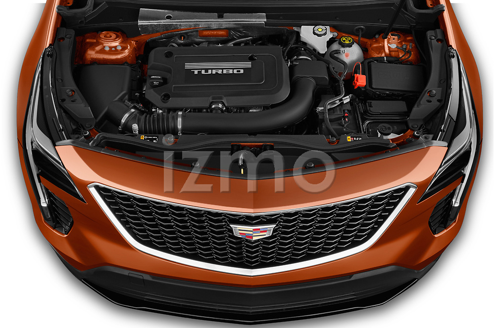 Car Stock 2019 Cadillac XT4 Sport 5 Door SUV Engine  high angle detail view