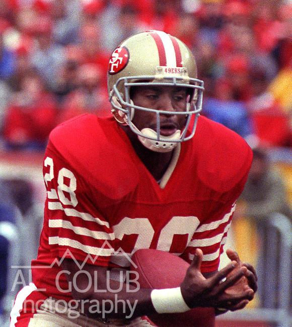 San Francisco 49ers vs  Minnesota Vikings  at Candlestick Park Saturday, January 9, 1988.. Vikings beat 49ers 36-24.San Francisco 49ers Running Back Joe Cribbs (28)..
