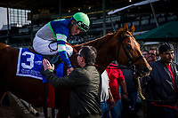 ARCADIA, CA - DECEMBER 26: Trainer Peter Eurton shakes the hand of rider Gary Stevens after winning the San Antonio GII Stakes with Giant Expectations #3  at Santa Anita Park on December 26, 2017 in Arcadia, California. (Photo by Alex Evers/Eclipse Sportswire/Getty Images)