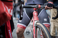 Fabio Felline's (ITA/Trek-Segafredo) mud-spotted bike after finishing<br /> <br /> 11th Strade Bianche 2017