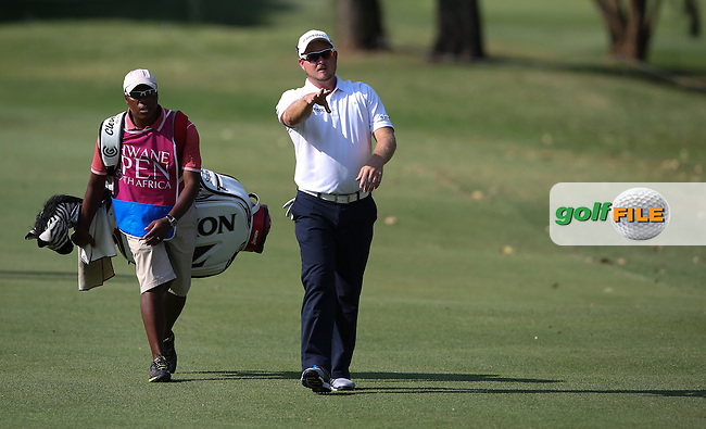 Merrick Bremner (RSA) and Soli head to the 15th during Round Three of the Tshwane Open 2015 at the Pretoria Country Club, Waterkloof, Pretoria, South Africa. Picture:  David Lloyd / www.golffile.ie. 14/03/2015
