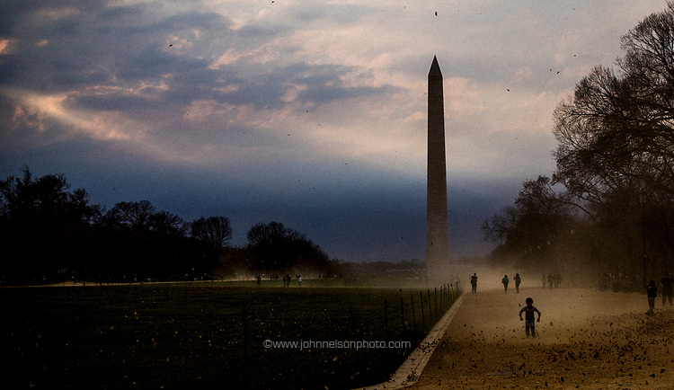 Strong winds hit the National Mall in Washington, DC