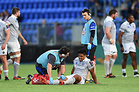 Ben Tapuai of Bath Rugby is treated for an injury during a break in play. Pre-season friendly match, between Leinster Rugby and Bath Rugby on August 25, 2017 at Donnybrook Stadium in Dublin, Republic of Ireland. Photo by: Patrick Khachfe / Onside Images